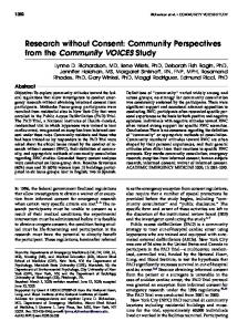 Research without Consent: Community ... - Wiley Online Library