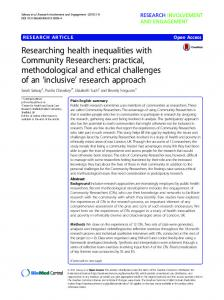 Researching health inequalities with Community ... - Semantic Scholar
