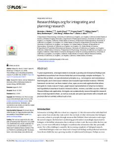 ResearchMaps.org for integrating and planning research - PLOS