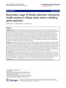 Reservation wage of female volunteer community health workers in ...