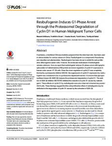 Resibufogenin Induces G1-Phase Arrest through