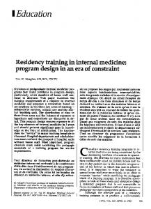 Residency training in internal medicine - Europe PMC