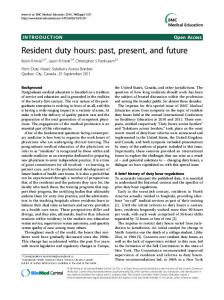 Resident duty hours: past, present, and future   SpringerLink