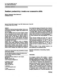 Resident productivity: trends over consecutive shifts - Springer Link
