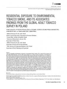 residential exposure to environmental tobacco ... - Semantic Scholar