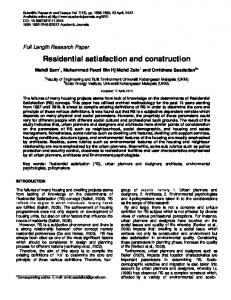 Residential satisfaction and construction - Academic Journals