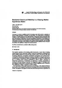 Residential Search and Mobility in a Housing Market Equilibrium Model