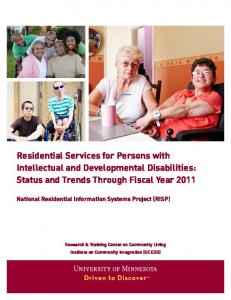 Residential Services for Persons with Intellectual and