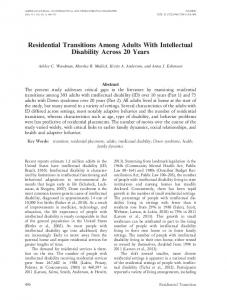 Residential Transitions Among Adults With Intellectual Disability ...