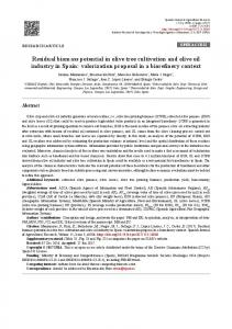Residual biomass potential in olive tree cultivation and olive oil