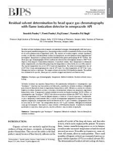 Residual solvent determination by head space gas