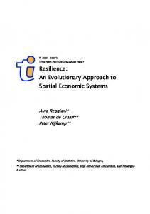 Resilience: An Evolutionary Approach to Spatial ... - CiteSeerX