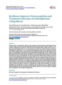Resilience Improves Neurocognition and Treatment Outcomes in ...