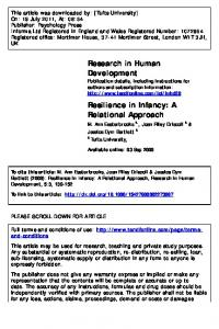 Resilience in Infancy: A Relational Approach