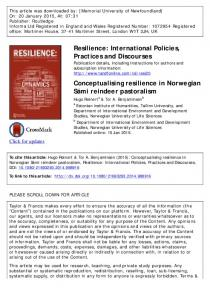 Resilience: International Policies, Practices and ...