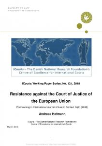 Resistance against the Court of Justice of the ... - SSRN papers