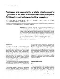 Resistance and susceptibility of alfalfa (Medicago sativa L.) cultivars to