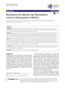 Resistance of infection by Plasmodium vivax to chloroquine in Bolivia