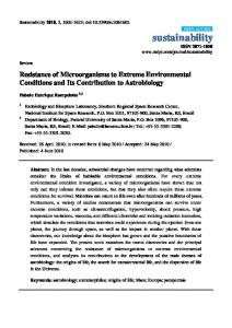 Resistance of Microorganisms to Extreme Environmental - MDPI