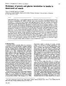 Resistance of protein and glucose metabolism to insulin in denervated ...