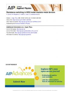 Resistance switching in HfO2 metal-insulator-metal devices