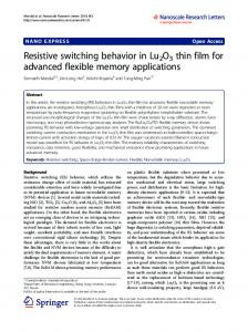 Resistive switching behavior in Lu2O3 thin film for ... - BioMedSearch
