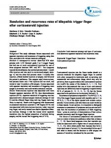 Resolution and recurrence rates of idiopathic trigger finger after ...
