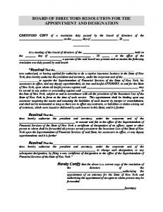 Resolution of the Board of Directors