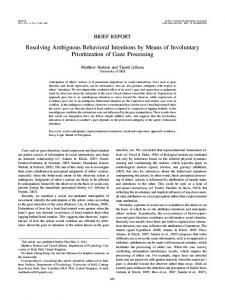 Resolving Ambiguous Behavioral Intentions by ... - Semantic Scholar