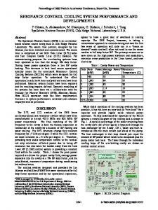 Resonance Control Cooling System Performance and Developments