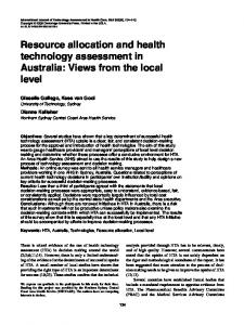 Resource allocation and health technology ... - Semantic Scholar