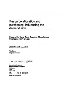 Resource allocation and purchasing: influencing the ...