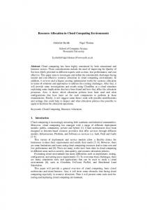 Resource Allocation in Cloud Computing Environments