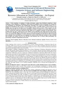 Resource Allocation in Cloud Computing - IJARCSSE