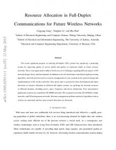 Resource Allocation in Full-Duplex Communications for Future ... - arXiv