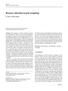Resource allocation in grid computing - Semantic Scholar