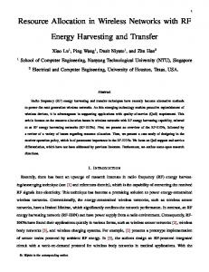 Resource Allocation in Wireless Networks with RF Energy Harvesting ...