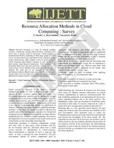 Resource Allocation Methods in Cloud Computing