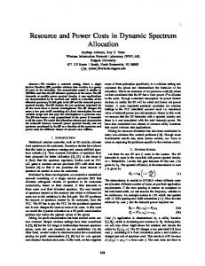 Resource and Power Costs in Dynamic Spectrum Allocation