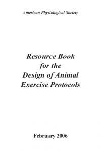 Resource Book for the Design of Animal Exercise Protocols