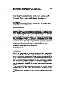 Resource Characteristics, Extraction Costs, and ... - Springer Link