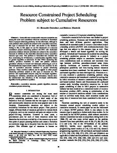 Resource Constrained Project Scheduling Problem subject to ...
