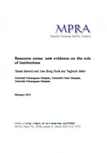 Resource curse - Munich Personal RePEc Archive