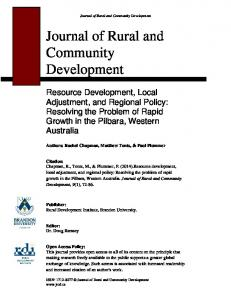 Resource Development, Local Adjustment and Regional Policy ...