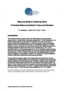 Resource Guide in Exploring Ethics A Practical Resource Guide for ...
