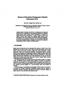 Resource Information Management of Spatial Information ... - CiteSeerX