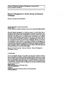 Resource Management in Clouds: Survey and ... - Brendan Jennings