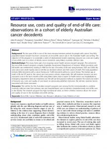 Resource use, costs and quality of end-of-life care