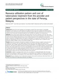 Resource utilization pattern and cost of