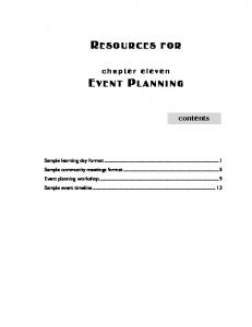 RESOURCES FOR EVENT PLANNING - Narcotics Anonymous